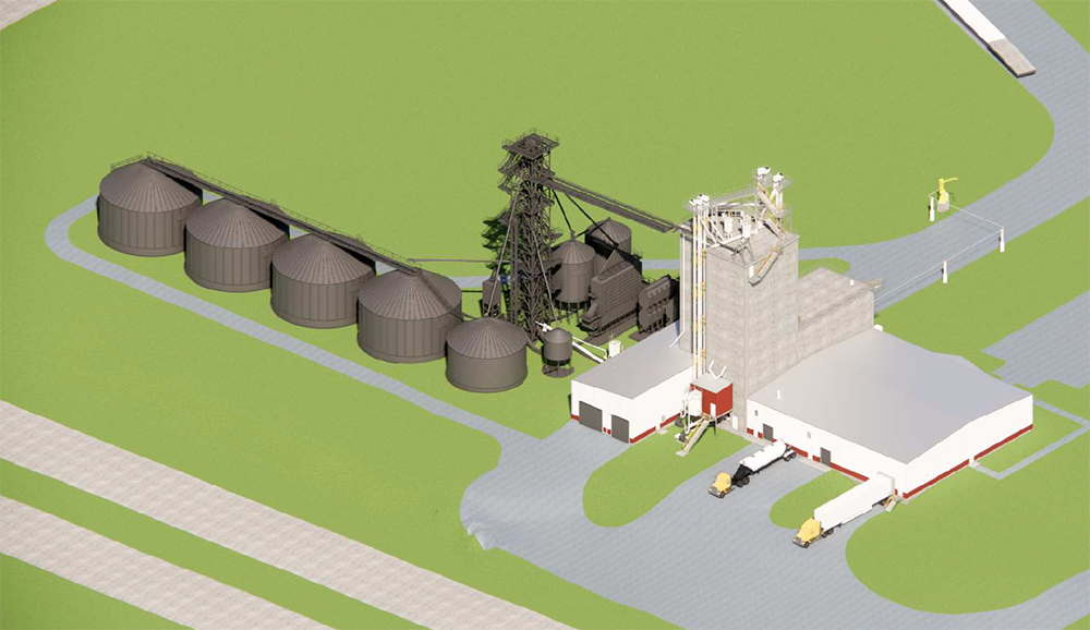 View of the ISU feed mill drawing from the northwest